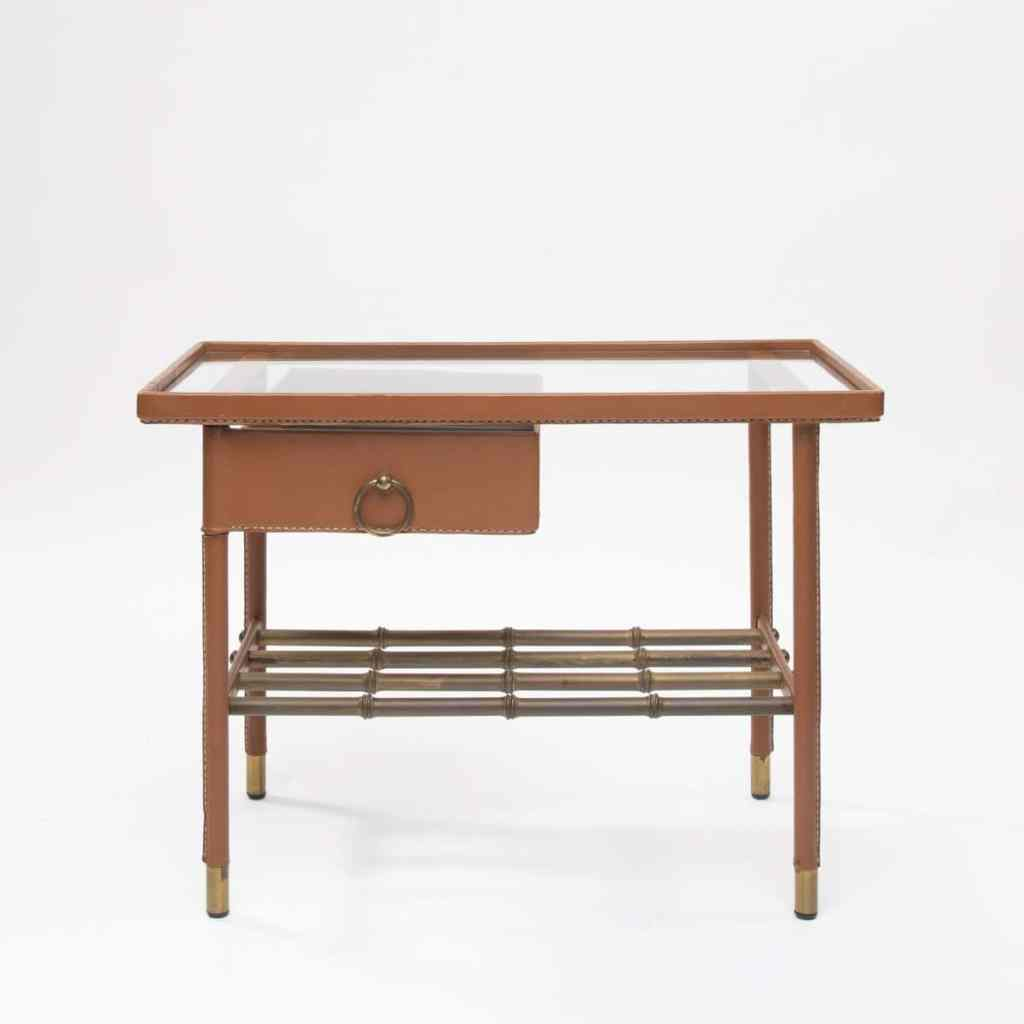 Glass Side Table with drawer by Jacques Adnet -img1