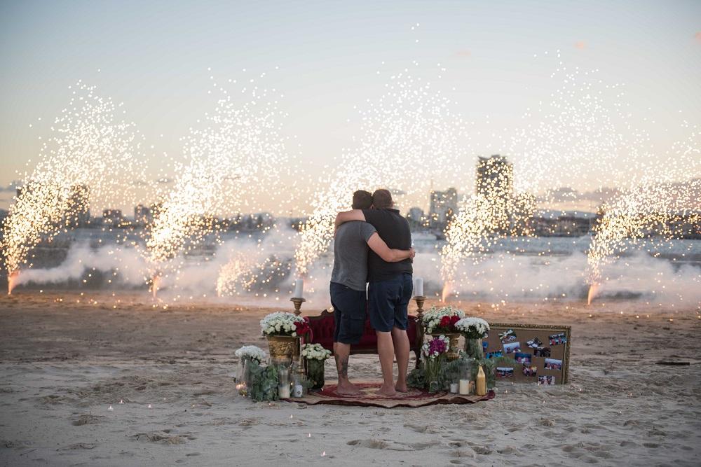 Romantic beach picnic