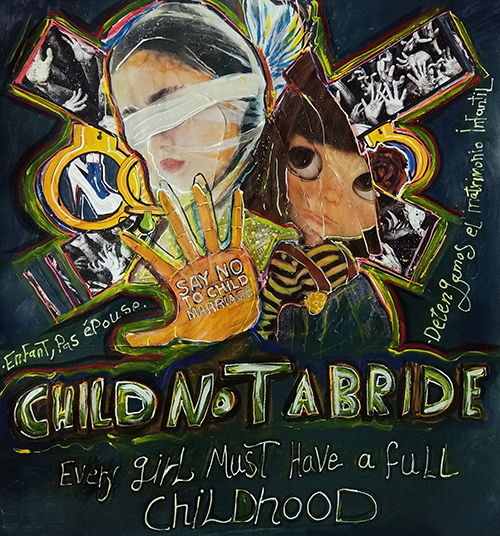 """An illustration shows girls' faces and a hand with the words """"say no to child marriage"""". Below, the image says, """"Every girl must have a full childhood."""""""