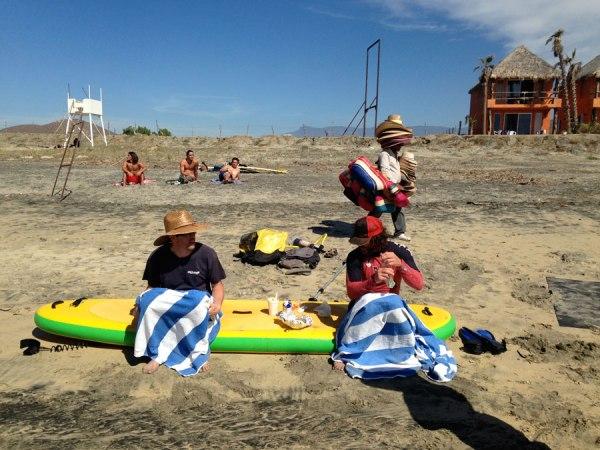 Dustin and Simon hiding their sunburn legs at Los Cerritos.