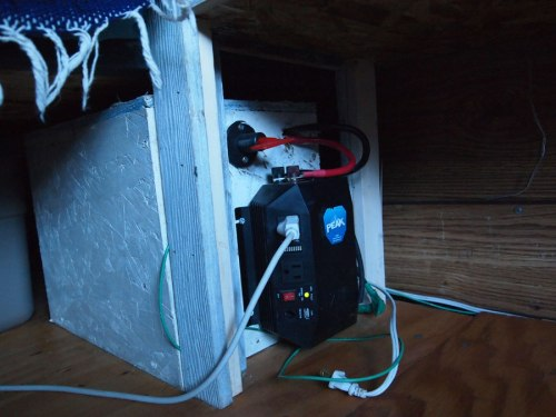 Housing with inverter and backup battery to run LED lights and chargers, also an electric tea kettle :)