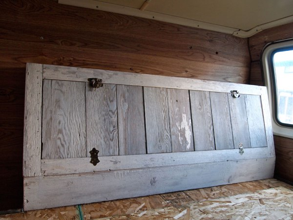 White-washed our cabinet that was made with reclaimed wood..