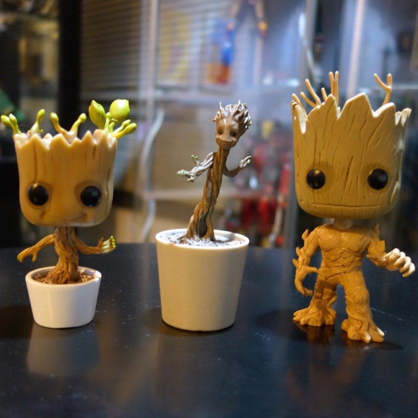 Dancing Groot (Funko Pop), Little Groot (Hot Toys), and Groot (Funko Pop)