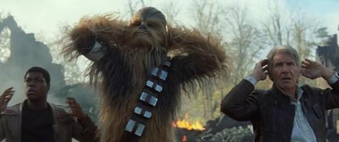 Star Wars: The Force Awakens..L to R: Finn (John Boyega), Chewbacca (Peter Mayhew), and Han Solo (Harrison Ford)..Ph: Film Frame..© 2014 Lucasfilm Ltd. & TM. All Right Reserved..