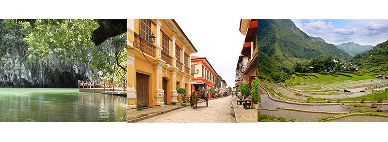 UNESCO Heritage Sites: Puerto Princesa Underground River, Historic City of Vigan, Rice Terraces in Batad, Ifugao (Cordilleras)