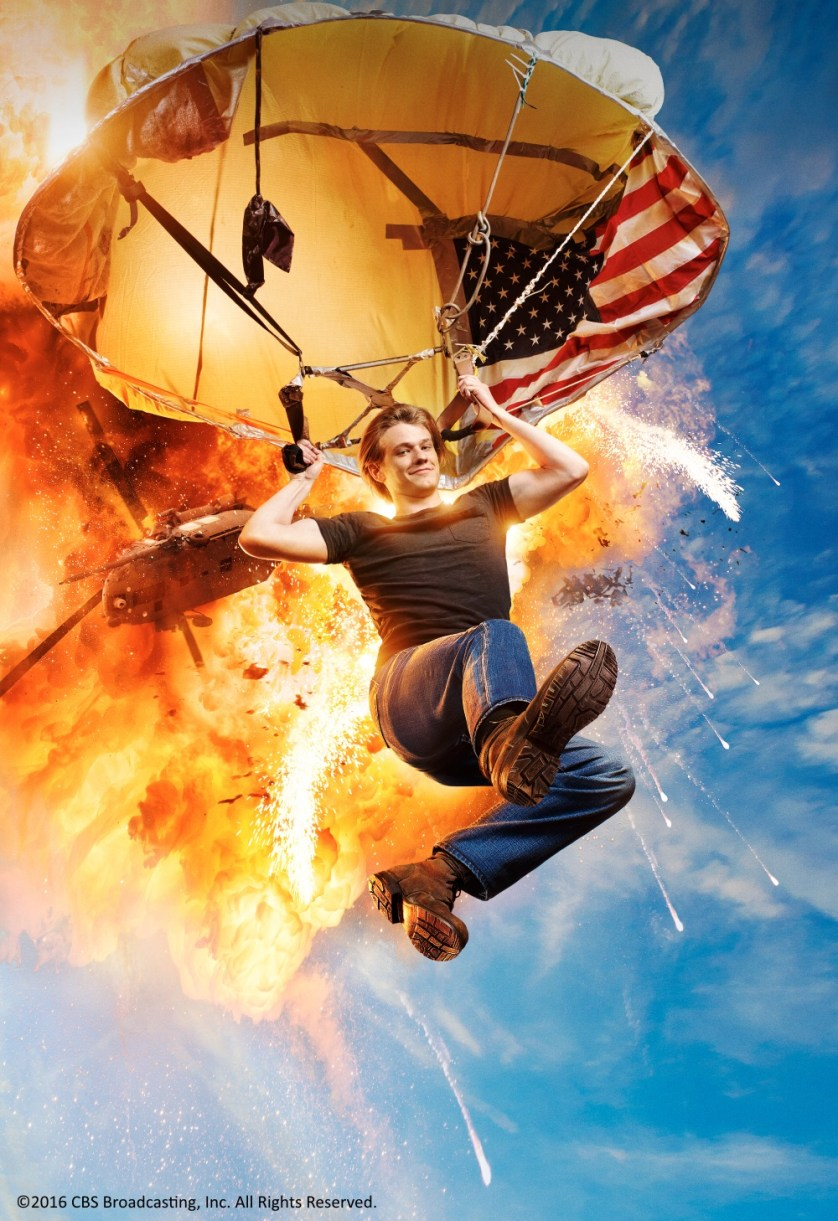 """Lucas Till (who played the role of Havok in the X-Men films) reprises the role of Angus """"Mac"""" Macgyver!"""