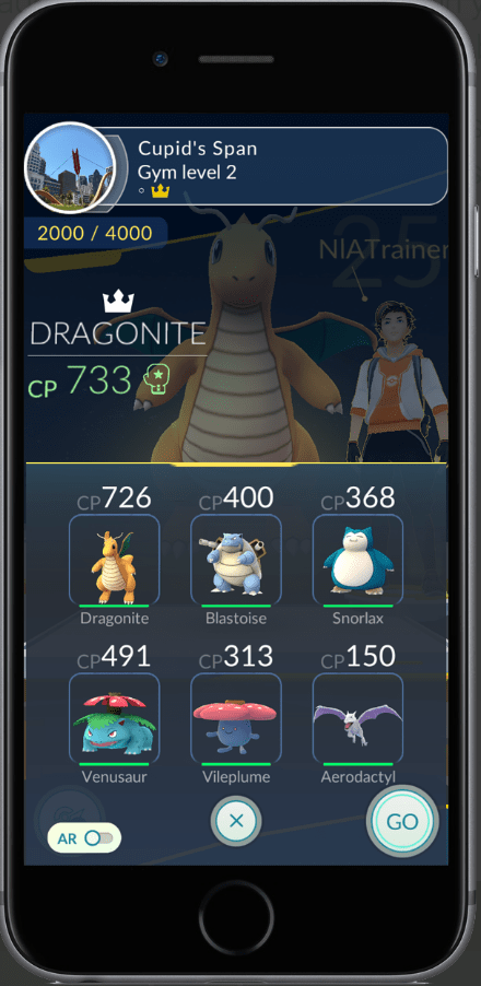 Pokémon GO Gym Battles - Bring 6 Pokémon for training. (Source: Niantic Labs)
