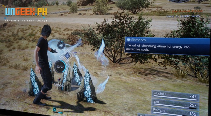 Reminds me of FFXIII but there's more to this than just grabbing spells -- with FFXV you make your own.