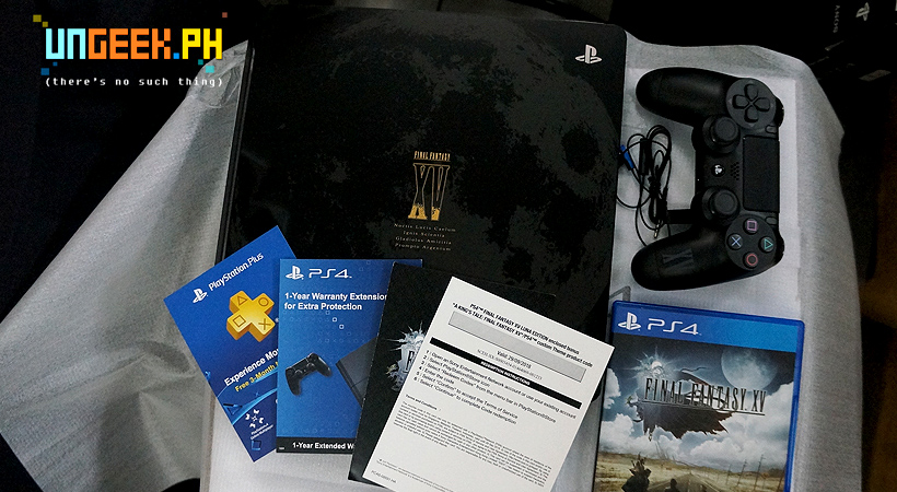 Inside the box. Beautifully designed PS4 and controller, game and various DLCS.