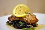 Steinbitfilet med parmesan / sitronsmør og stekt spinat