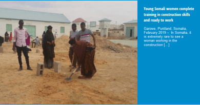 Young Somali women complete training in construction skills and ready to work