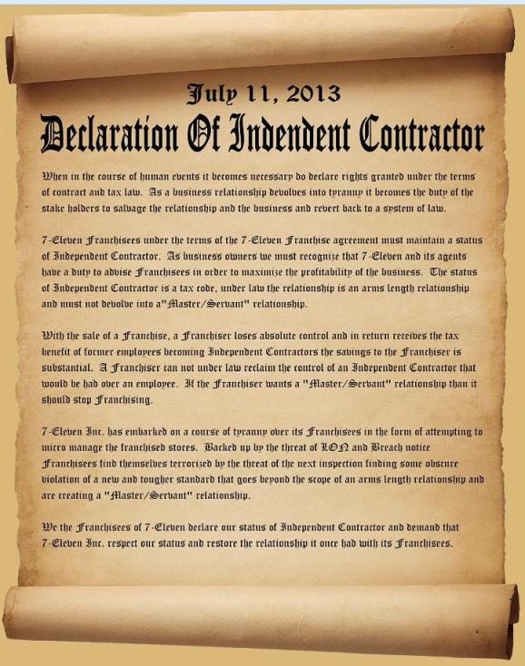 711 declaration of independent contractor