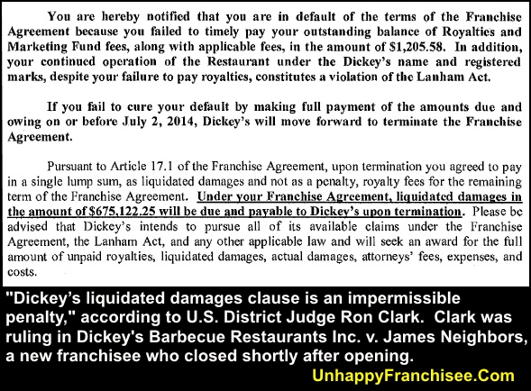 DickeyS Liquidated Damages Clause Ruled Impermissable  Unhappy