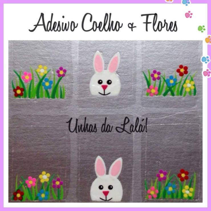 adesivo-de-unha-Coelho + flores