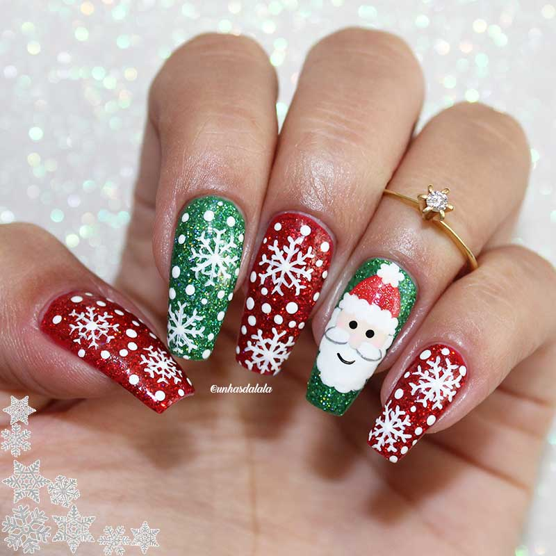 Unhas Decoradas Natal - Papai Noel
