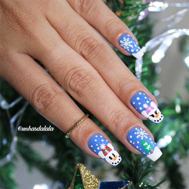 Unhas Decoradas para o Natal - Boneco de Neve Mickey e Minnie
