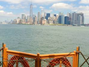 April 27: Manhattan, seen today from the Staten Island ferry. The boats are larger and faster than in the old days, and cheaper, too. On my first visit to NYC in 1964, one paid 10 cents for a token allowing you on the boat; today the voyage is free. Still a great view.