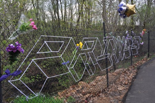 Some clever string design by a devoted fan on the fence near Paisley Park.