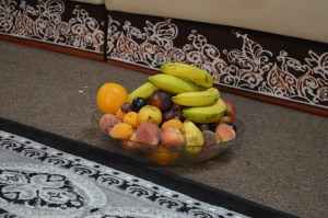 Omanis welcome guests with a tray of fresh fruit.