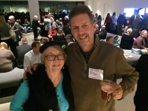 Here, I'm pictured with my favorite Star Tribune photographer, Brian Peterson, at an event last week. He's enjoying a beer; you can just about see the top of my water bottle.