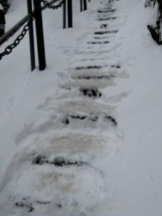 A mixture of snow, ice and slush on the ground makes climbing the mountain even more hazardous.