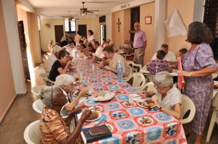 A celebration meal at our sister church, Versalles Redeemer Presbyterian Church in Matanzas, was enjoyed by members of the parish and our group of 13 members as seen here. Chicken and black beans and rice followed by a sweet coconut cake and Happy Birthday sung in Spanish and English. Pastor Carlos Emilio Ham, stands at right.
