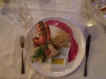 My lobster dinner at Chiquirrin Restaurant in Matanzas. Yummy!