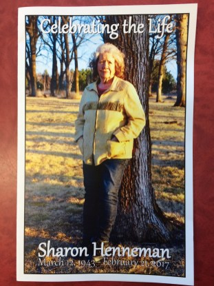 Sharon's funeral program featured a photo I took of her on her birthday almost a year from the date she died. I also wrote her obituary.