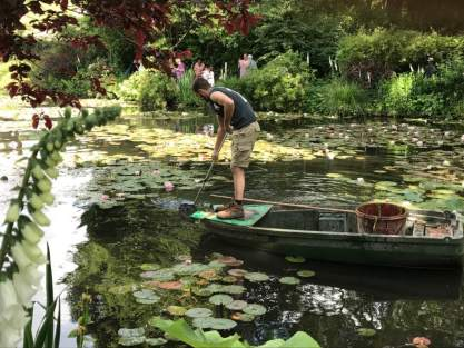 May 30: Highlight of our day was taking a train 30 miles north of Paris to revisit Monet's Garden. Workers were sprucing up the lily pads as we arrived. And indeed, Monet was creating art here, not merely displaying nature. It's one of Dorette and my favorite places. We'll be looking his paintings of the scene tomorrow at the Paris museum devoted to his work.