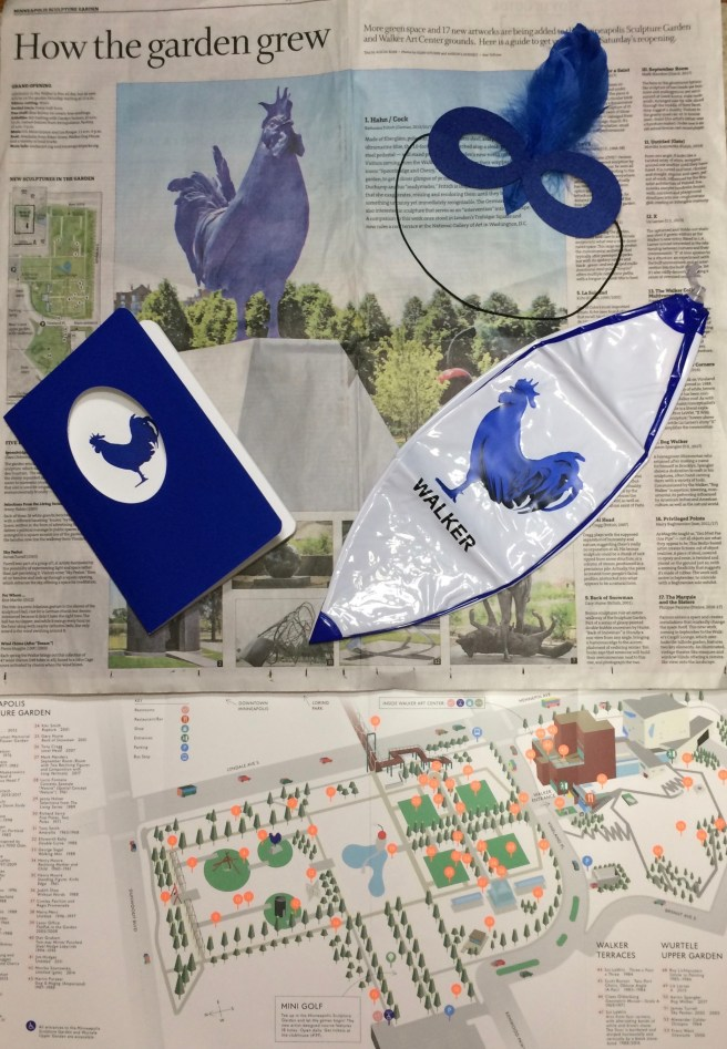 This week's Star Tribune spread about the Walker reopening is a backdrop for the freebies I picked up today. The sculpture map leaves a great deal to be desired. Instead of numbered circles, it would help it it was either a photo or a tiny facsimile of the sculptures to help located the one(s) a visitor might want to visit.