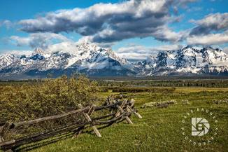 "June 24: ""Wyoming Teton Valley Scenics."" Old wooden rail fence leads your eye to the Tetons."