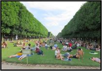 June 9: This park in Paris, established by Napoleon, is among my favorite places on the face of the Earth. I shot this photo on an especially fine weather day during our recent visit. Unlike in the U.S., most pubic lawns in Paris are for looking at, not walking upon, sunbathing, napping, pitching woo, playing games, etc. But as the sign in the foreground states, this one is an exception to the rule. Sun worshippers of all kinds are welcomed on the grass.