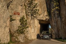 One heck of a small opening to drive your car through on the Needles highway. Not much room on each side to squeeze through. If somebody is coming from the other way, one has to back out!