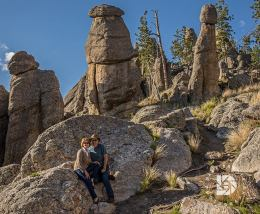 Sheila Bruner & I taking a photo among these rock formations along the Needles highway.