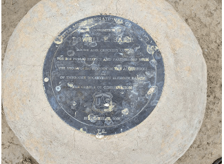 This stone was laid as a tribute to the people who raised funds for the purchase of the Eberts Ranch. I attended the celebration unveiling this marker.