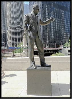 Recently refurbished monument erected by the city of Chicago to honor Irv Kupcinet, 1912-2003, famous columnist and television personality.