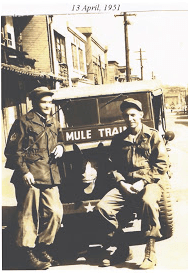 Garland Crook (right) with a buddy in Korea, during the Korean Conflict.