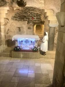 The Basilica of the Annunciation and the altar near where Mary is said to have encountered the angel Gabriel.