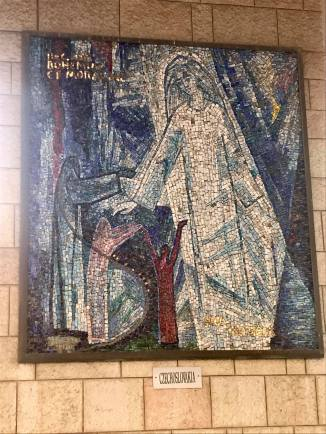 Depiction of the Annunciation in the Basilica of the Annunciation in Nazareth.