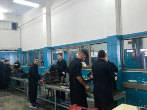 Metal work clases at the lwf vocational training center.