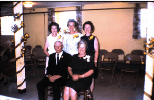 Marian, back middle, with her two sisters and her parents, Andy and Lillian, at their 50th wedding celebration in the basement of Rhame Lutheran Church. Shortly after this celebration, Lillian Silbernagel died unexpectedly.