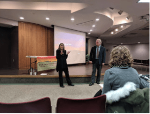 "Jan Swenson (left) and Mike McEnroe introduce the film ""Keeping All the Pieces,"" released by the Badlands Conservation Alliance and the North Dakota Wildlife Federation."
