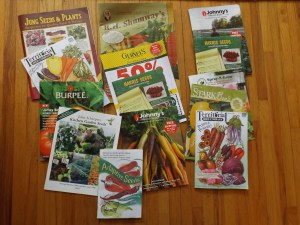 Here's some of the seed catalogs we got so far this year. I have never ordered from most of these, so all I can think of is they swap mailing lists. I'm not complaining. They brighten up otherwise dreary winter days when they come in the mail.