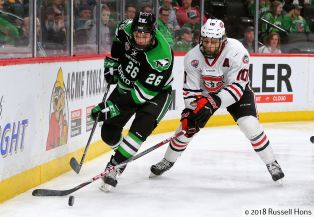 St. Paul, MN; March 16, 2018; NCHC Frozen Faceoff, Xcel Energy Center. The University of North Dakota Fighting Hawks took on St. Cloud State Friday afternoon and once again went to OT, with St. Cloud winning 4-3. Photo by Russell Hons