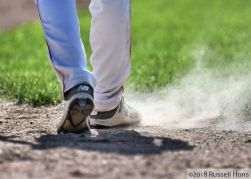 July 10, 2018: The Grand Forks Blues American Legion baseball team visited East Grand Forks on Tuesday. East Grand Forks won 4-3 at Stauss Park. Photo by Russell Hons
