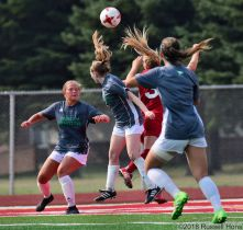 August 11, 2018: An exhibition soccer game between the University of North Dakota Fighting Hawks and the University of South Dakota Coyotes at East Grand Forks Senior High School in East Grand Forks, MN. UND defeated USD 2 to 1. Photo by Russell Hons