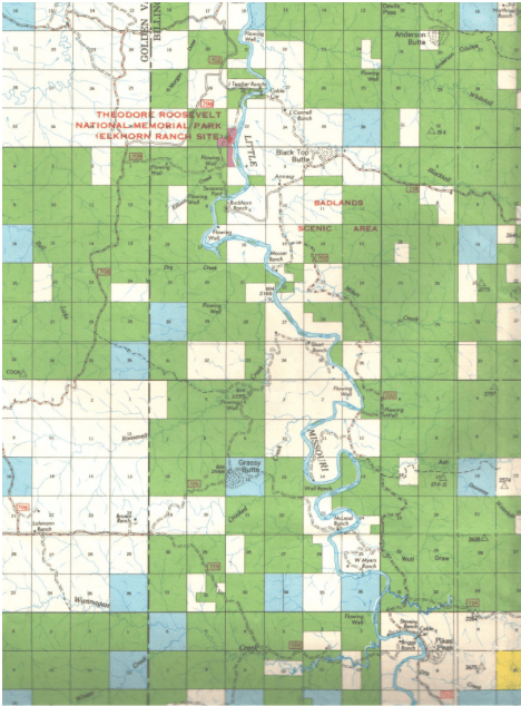 Here's a U.S. Forest Service map of the area between the South Unit of Theodore Roosevelt National Park and the north border of Billings County. Sections in white are privately owned, in green are U.S. Forest Service, and in blue are state school lands.