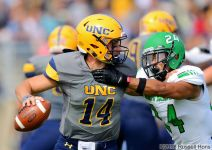 September 29, 2018: A NCAA FCS football game between the North Dakota Fighting Hawks and the Northern Colorado Bears at Nottingham Field in Greeley, Co. North Dakota defeated Northern Colorado 38-13. Russell Hons
