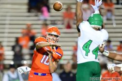 September 15, 2018: Taken during a NCAA football game between the University of North Dakota Fighting Hawks and Sam Houston State Bearkats at Elliott T. Bowers Stadium in Huntsville, Texas. North Dakota defeated Sam Houston State 24 -23. Russell Hons