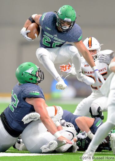 September 22, 2018: Taken during a NCAA football game between Idaho State and the University of North Dakota at the Alerus Center in Grand Forks, North Dakota. Idaho State won 25-21. Russell Hons